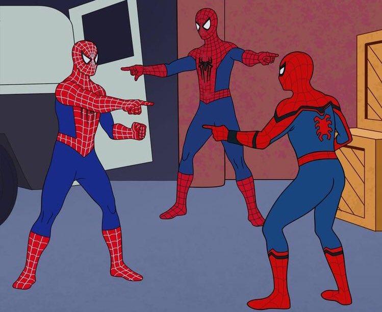 Картинка два человека паука показывают друг на друга нашей базе